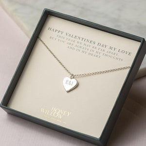 Valentines Gift for Her - Engraved Heart Necklace