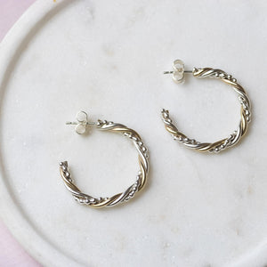 Petite Twisted Hoops - Mixed Metal