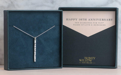 10th Anniversary Necklace Silver - 10 Diamonds for 10® Years