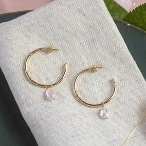 Small Gold Hoops with Morganite