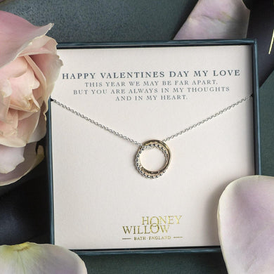 Valentine's Necklace for Her - Long Distance Love Gift