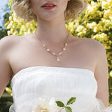 Gold bridal necklace, pearl Y-drop necklace wedding - VITA