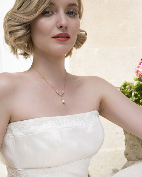 Pearl drop necklace wedding, Y-drop bridal necklace - VITA