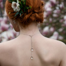 Load image into Gallery viewer, Bridal backdrop necklace, crystal choker necklace, long drop back necklace - Eirlys
