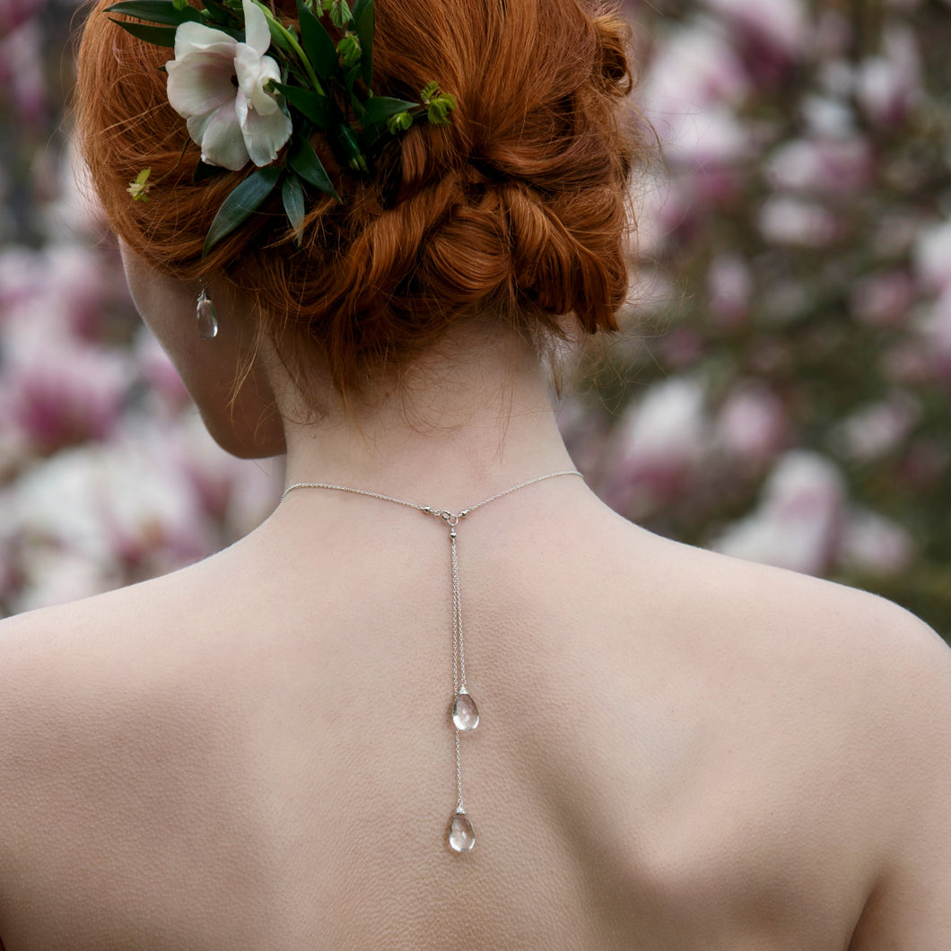 Bridal backdrop necklace, crystal choker necklace, long drop back necklace - Eirlys
