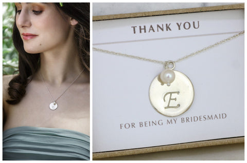 Monogram necklace, personalized bridesmaid gift