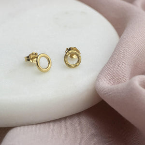 Tiny Gold Halo Stud Earrings
