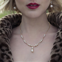 Load image into Gallery viewer, Swarovski pearl necklace, gold bridal necklace - EVIE
