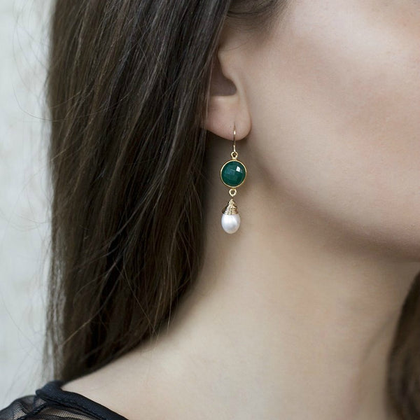 May birthstone earrings, green onyx and pearl drop earrings - Amy
