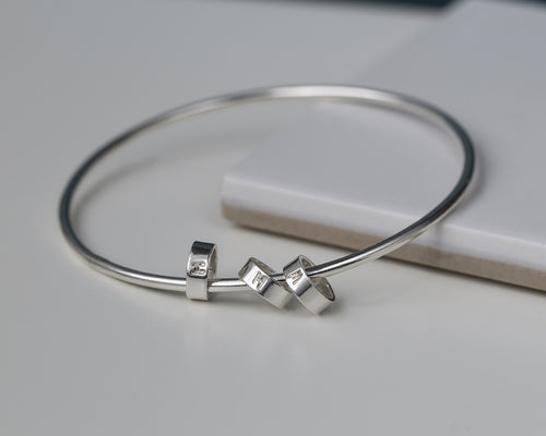 Gift for mom of 3, bracelet with kids initials, silver bangle with initial charms, mom bracelet - Lucy