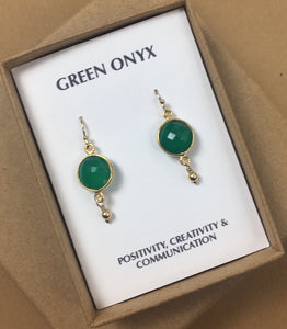 Green onyx earrings, gemstone drop earrings, christmas gift for wife, for girlfriend, for sister - BAY