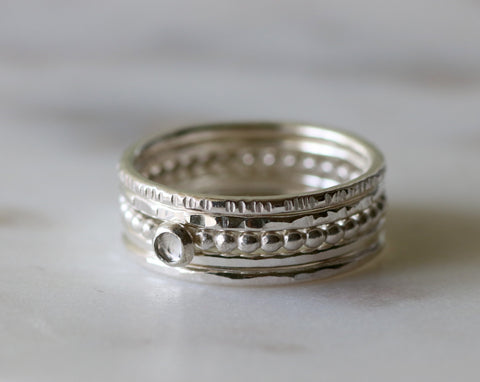 April birthstone ring stack, April birthday gift for her, stacking rings with white topaz - JULIET