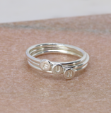 Tiny initial ring silver, dainty monogram ring, stacking ring with initial, Christmas gift for her personalised - Isabella