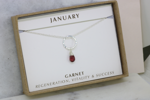 January Birthstone Necklace | Garnet Necklace