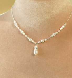 Swarovski pearl necklace, gold bridal necklace - EVIE