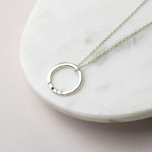 Silver Love Necklace with Birthstone - Gift for Loved One