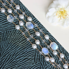 Load image into Gallery viewer, Boho wrap bracelet bridal, moonstone bracelet for bride, long beaded wrap necklace - Lily