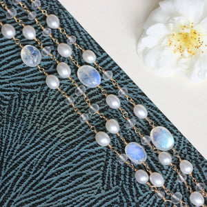 Boho wrap bracelet bridal, moonstone bracelet for bride, long beaded wrap necklace - Lily