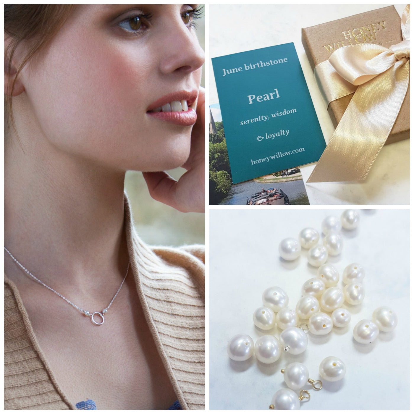 Dainty pearl infinity necklace, June birthday gift for daughter, goddaughter, sister - Luna