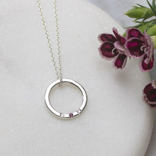 Load image into Gallery viewer, Silver MOM necklace with birthstone