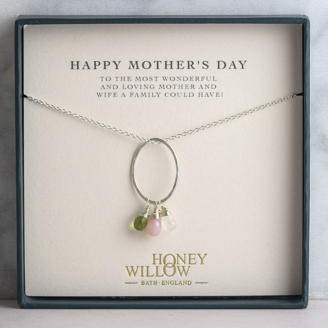 Mothers Day Gift - Silver Birthstones Necklace