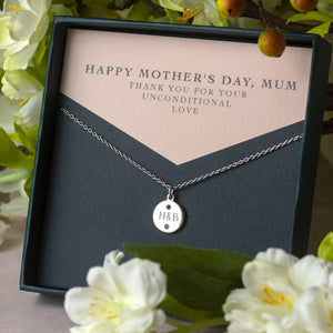 Mother's Day Gift - Personalised Engraved Pendant with Birthstones - Petite