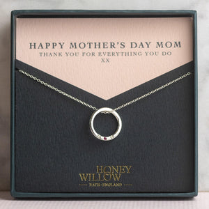 Mother's Day Gift for Mom - Silver MOM Necklace with Birthstone