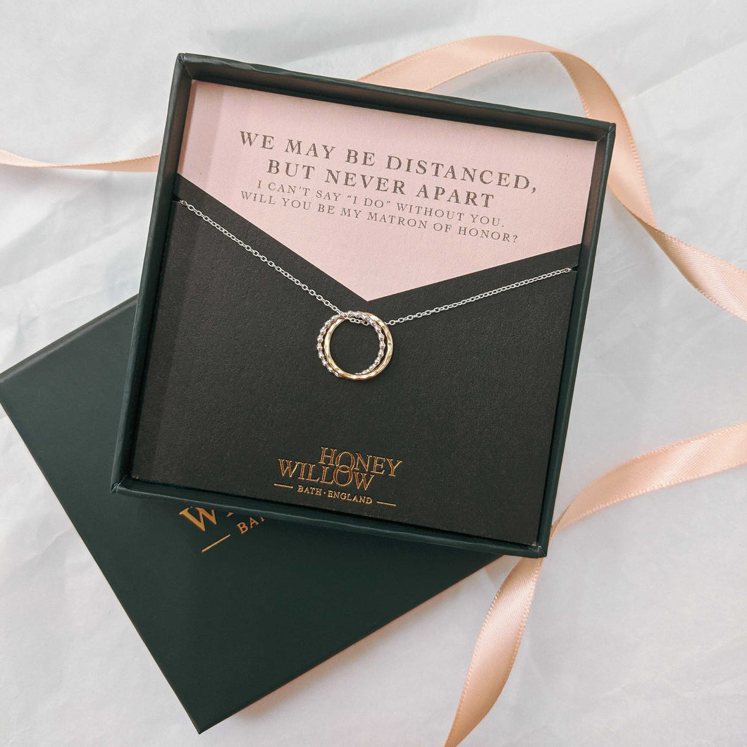 Will You Be My Maid of Honour Gift - Double Ring Friendship Necklace