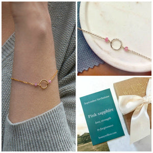 September birthstone jewelry, pink sapphire bracelet, September birthday gift for her - Luna