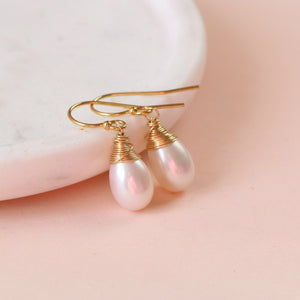 Pearl drop earrings gold, bridal earrings pearl drop, elegant wedding earrings - Sophie