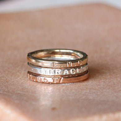 9ct Gold Personalized Rings Stack, Christmas Gift for Wife, Mixed Metal Stacking Rings - Sorrel