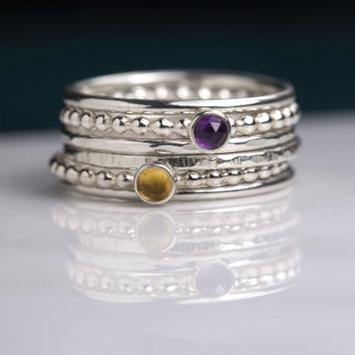 Double Birthstone Ring Stack, Stacking Rings with Birthstones, Christmas Gift for Wife, Mom - Sorrel