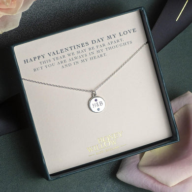 Valentine's Gift for Loved One - Personalised Engraved Silver Necklace with Birthstones