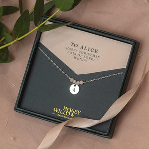 Christmas Gift for Her - Personalised Birthstone Initial Necklace