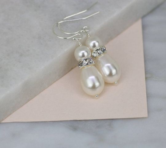 Swarovski bridal pearl drop earrings | Annika