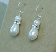 Load image into Gallery viewer, Swarovski bridal pearl drop earrings | Annika