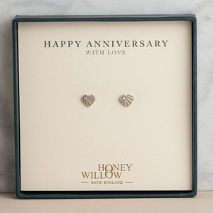 Anniversary Gift - Diamond Earrings - Sterling Silver Heart Studs