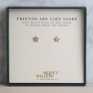 Friends Are Like Stars - Sterling Silver Star Studs