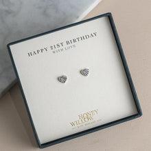Load image into Gallery viewer, 21st Birthday Gift - Diamond Earrings - Sterling Silver Heart Studs