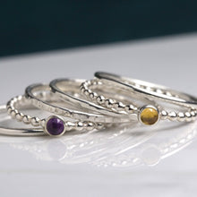 Load image into Gallery viewer, Birthstone stacking rings Honey Willow