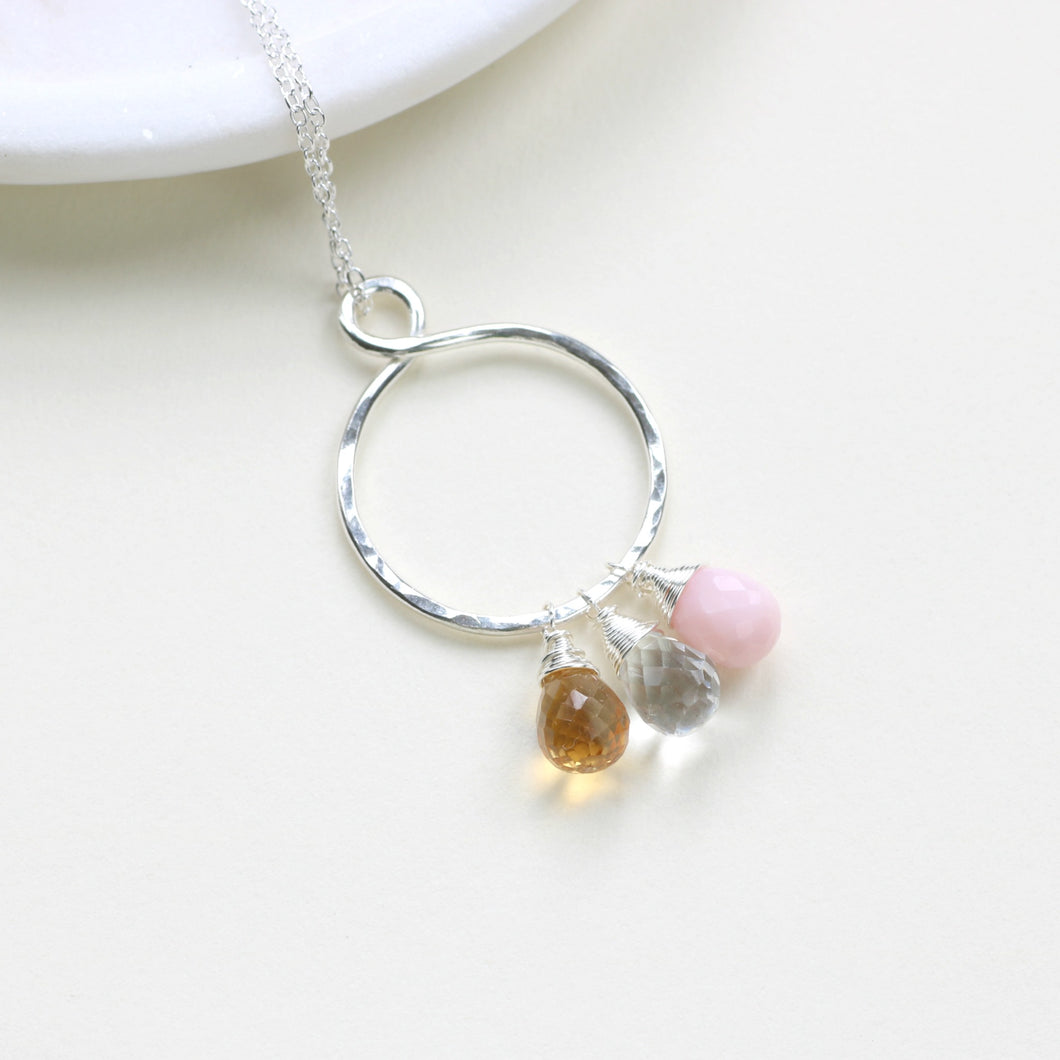 Infinity necklace with birthstones, birthstone necklace for mother, grandmother - Carys