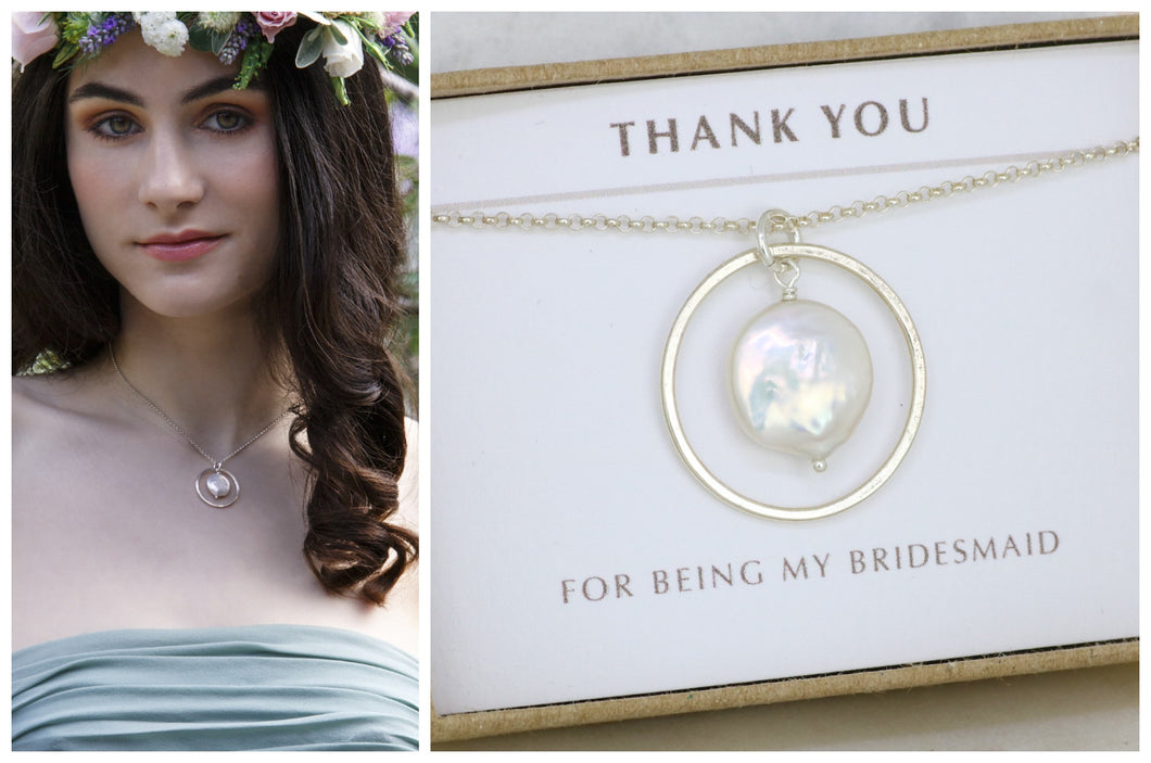 pearl pendant silver, coin pearl necklace for bridesmaid, daughter, goddaughter - Celestine