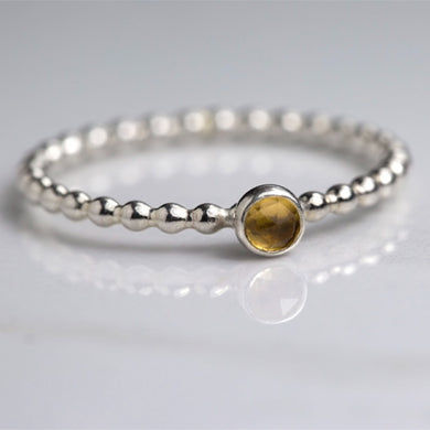 Tiny Citrine Ring, November Birthstone Jewelry, November Birthday Gift, Dainty Stacking Ring - Lilia