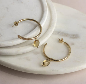 Small Gold Hoops with Citrines