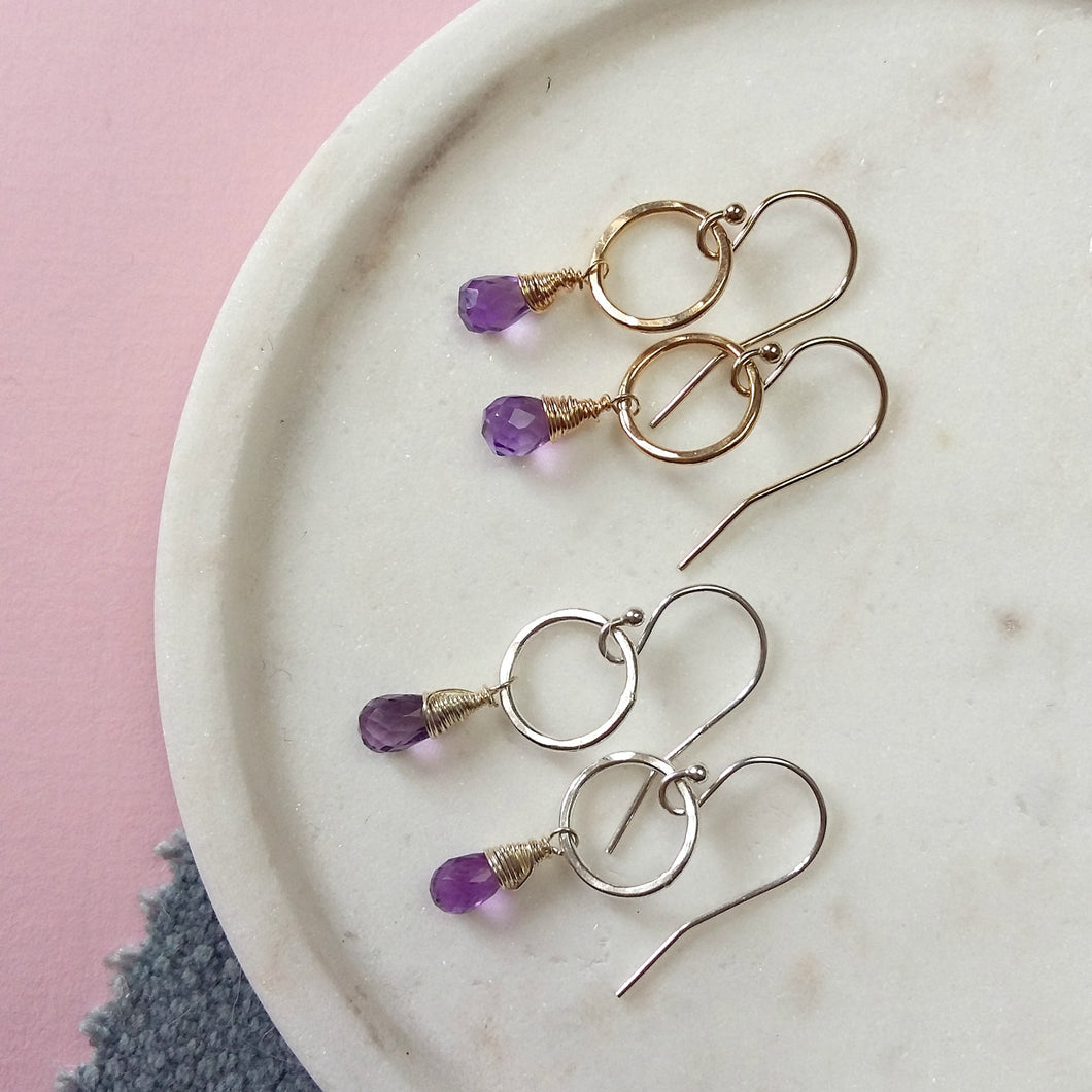 February Birthstone Earrings | Amethyst Earrings
