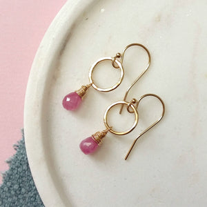 September birthstone earrings, dainty pink sapphire earrings, September birthday gift - Clare