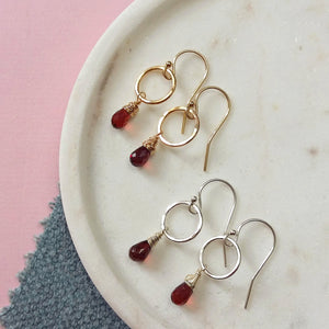 Garnet Earrings, January Birthstone Jewelry, Dainty Circle Earrings, Gemstone Dangle Earrings - Clare