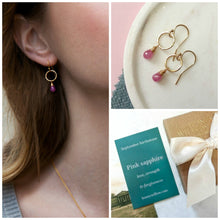 Load image into Gallery viewer, September birthstone earrings, dainty pink sapphire earrings, September birthday gift - Clare