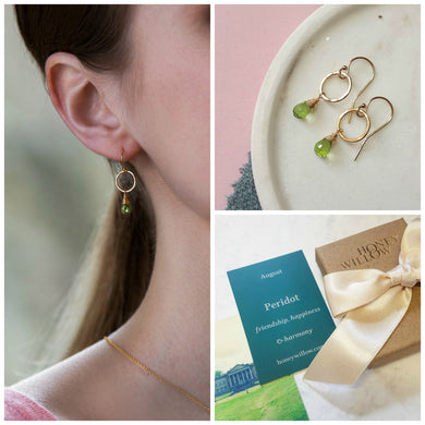 Dainty August birthstone earrings | Clare
