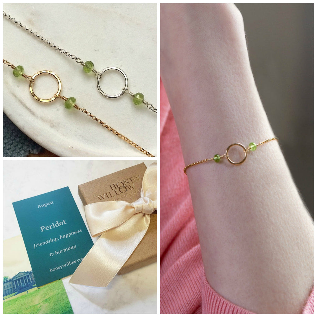 August birthstone jewelry, Peridot bracelet for her, August birthday gift, dainty birthstone bracelet - Luna